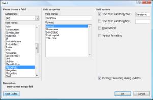 Feld-Dialog in Microsoft® Word 2007. Für eine Vergrößerung bitte anklicken.